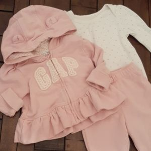 Gap dusty pink sweatpants hoodie onesie GUC 12 mo
